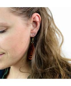 Houten oorbellen, ovaal mahonie klein