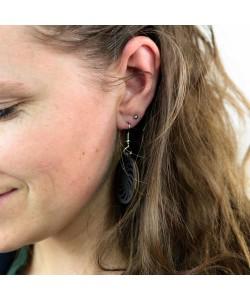 Houten oorbellen, spiraal zwart klein