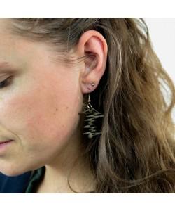Houten oorbellen, zigzag ritme kakigroen klein
