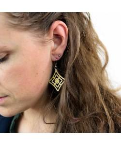 Houten oorbellen, ruit neutraal klein