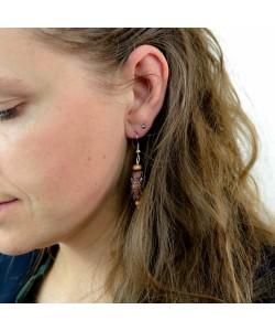 Houten oorbellen, koa hout