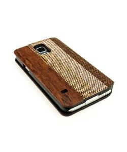 Houten retro-design flip case, Samsung S5 – Palissander met stof