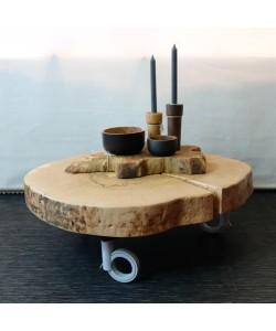 Boomstam salontafel schijf op open design wieltjes