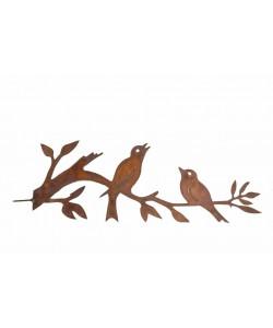 Tuin decoratie 2 vogels op tak cortenstaal