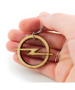 Houten sleutelhanger - Opel