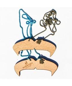 "Houten snor ketting ""hogan"" (blauw & brons)"