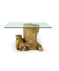 Koffieboom, boomstronk salontafel met glazen blad